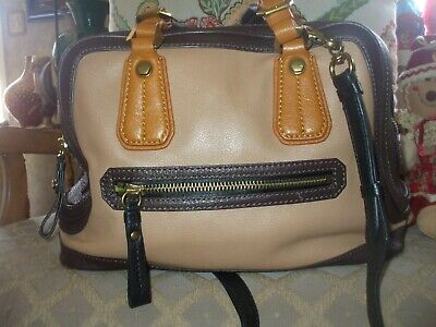 Oryany gorgeous tan brown black leather shoulder bag tote shop school hippie #24