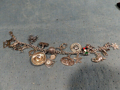 Charm Bracelet Sterling Silver 17 Charms Animals & Tourist Attractions