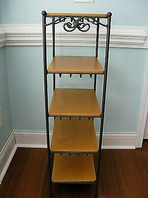 Longaberger Foundry Collection Wrought Iron 5 Tier Stand  Maple Shelves  NICE