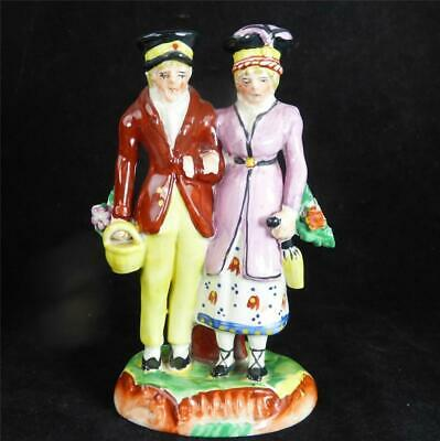 Antique 19Th Century Staffordshire Pottery Dandies Figure Group