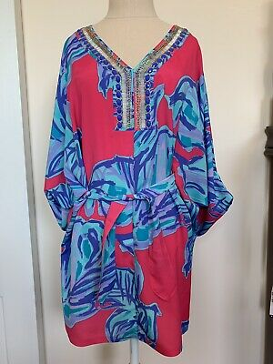 22f694bc4077 Lilly Pulitzer Wilda Caftan Chic Pink Sway Floral Beaded Belted Kimono Dress  S