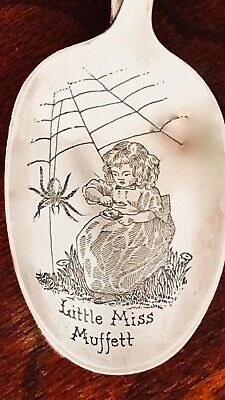 - Reed & Barton Curved Handle Baby Spoon: Floral Handle, Little Miss Muffet Bowl