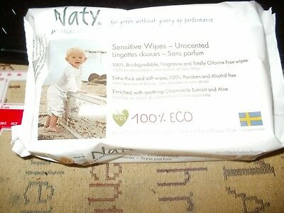 Naty by Nature Babycare Unscented Sensitive Eco Wipes, 3 x 56 Wipes 168 Wipes