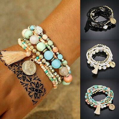 6Pcs/Set Women Ethnic Boho Multilayer Tassel Beads Bracelet Bangle Jewelry Gift