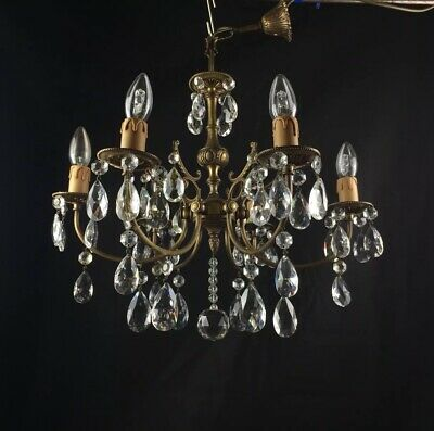 Gorgeous Antique French Heavy Brass 6 Arm Crystal Chandelier Ceiling Light