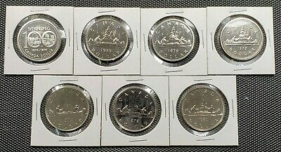 Canada 1974 - 1980 Set of 7 Different One Dollar Specimen Coins Collection Lot