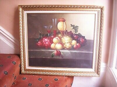 Old Vintage Oil Painting on Canvas Still Life Fruit By S Leroy Gold Frame Fine