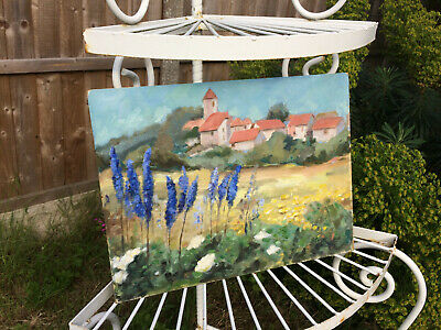 Vintage French Church Village Wild Flowers Painting Oil Signed Art Country House