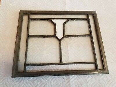 "Antique stained leaded  glass window - dental cabinet door - 6 1/2"" x 8 1/4"""