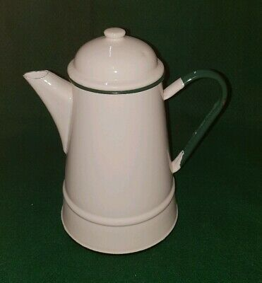 Genuine Vintage French Enamel Lidded Teapot In Cream With Green Handle & Rim!
