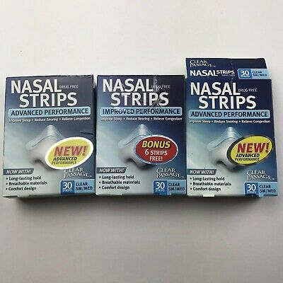 Clear Passage Nasal Strips Improved Performance 96 Pieces Clear Small Medium