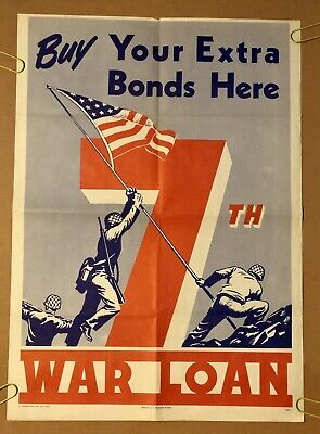 Buy Your Extra Bonds Here 7th War Loan Original Vintage Poster Pin-Up 1970s
