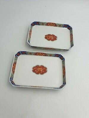 Japanese Arita Imari Ware Fine Porcelain Dishs Trays Handpained Floral Gold Pair