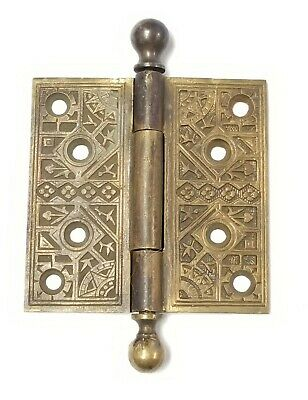 "Antique Brass Eastlake Ornate Cannonball Hinge (Single) 4"" x 4"""