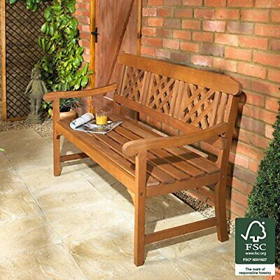Traditional 3 Seater Garden Fence Bench Outdoor Patio Seat Wood Hardwood Wooden
