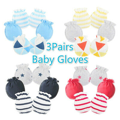 FJ- 3Pairs Breathable Newborn Baby Anti Scratch Gloves Cotton Mittens Face Guard