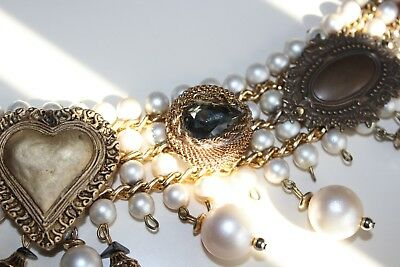 Fashionable French Bohemian Vintage Antique Ladies Belt Pearl Embellished Stone