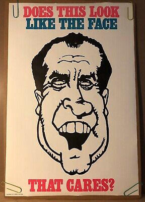 Does This Look Like The Face That Cares? President Nixon Original Vintage Poster