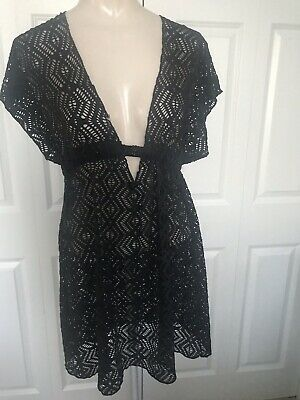 f70fe9165e BECCA Rebecca Virtue Amore Lace Tunic Swim Cover Up Dress Stretchy Black