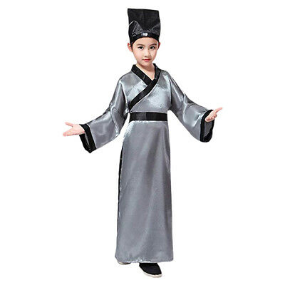 Chinese Traditional Old Ancient Confucius Hanfu Cosplay Costume Unisex Children