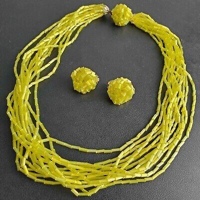 Signed JAPAN Vintage Yellow Glass Multi Strand Necklace & Earrings SET K67