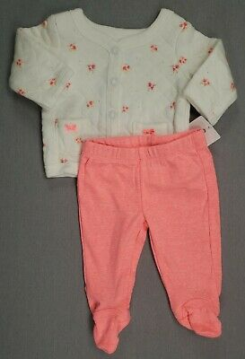 6032b13ca New Carter's Preemie Baby Girl 2Pc Footed Floral Quilted Jacket Outfit