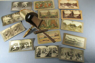 LOT of 14 Antique CALIFORNIA STEREOVIEWS Plus an Old Wooden Handheld VIEWER