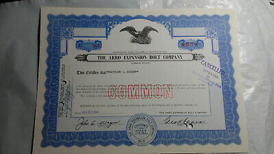 The Arro Expansion Bolt Company Stock Certificate From 1963