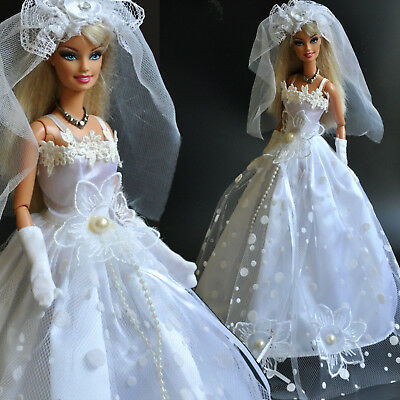 Nice  White WEDDING COLLECTION princes Dress  for 1/6 (11.5 Inch) BJD Doll