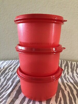 Tupperware Snack Bowls Ideal Storage Set of 3 Red w/ Matching Seals 13oz New