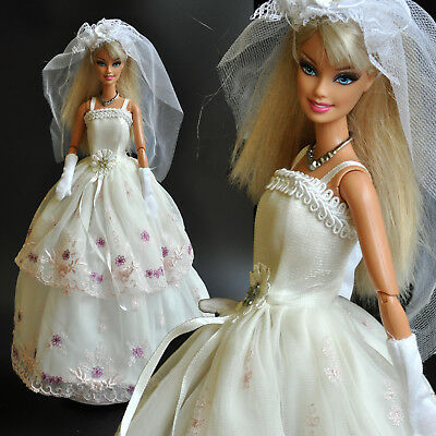 Nice 'WEDDING COLLECTION' White princes Dress for 1/6 (11.5 Inch )  BJD Doll