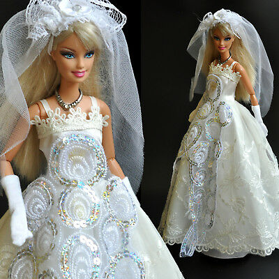 Nice 'WEDDING COLLECTION' White princes Dress (No.5) for 1/6(11.5 Inch) BJD Doll