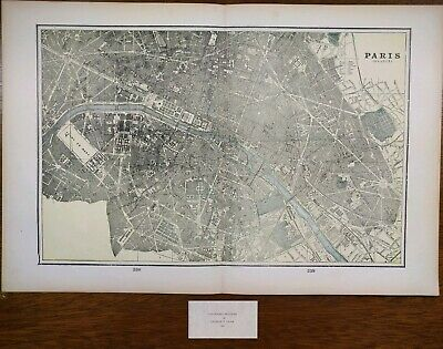 "PARIS FRANCE 1900 Vintage Atlas Map 22""x14"" ~ Old Antique EIFFEL TOWER LE MARAIS"