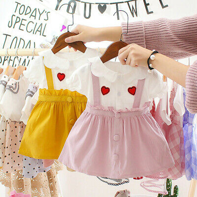 Toddler Infant Baby Girls Short Sleeve Love Print Ruffles Princess Dress Clothes