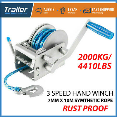 Hand Winch 2000KG/4410LBS 3 Speed Dyneema Synthetic Rope Boat Car Marine 4WD 10M