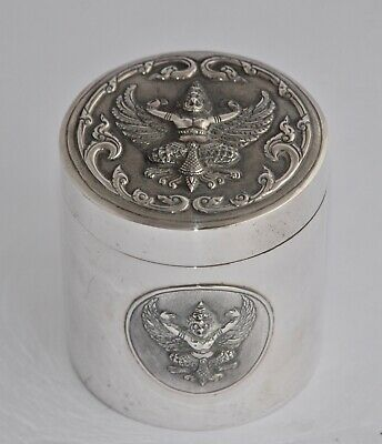 Thai Sterling Silver Lined Cigarette Box / Canister - Repousse Deities