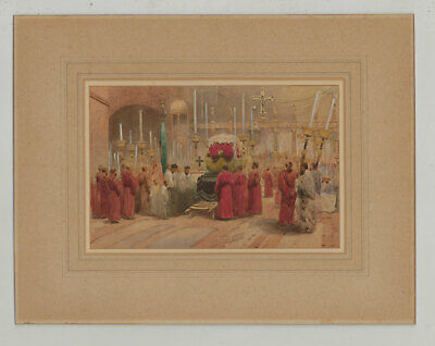 Fine Early 20th Century Watercolour - Catholic Funeral Interior