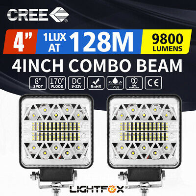 2x 4inch LED Work Light Bar Square Spot Flood Reverse Driving Lamp OffRoad 4x4