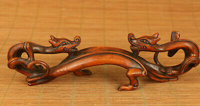 antique old boxwood hand carving dragon statue figue netsuke noble Brush rack