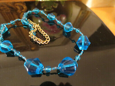 Lovely Vintage Blue Glass 1940's Necklace, Faceted hand pressed glass