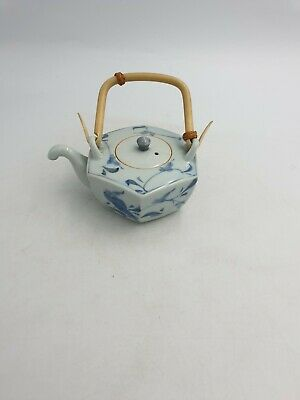 Japanese Small Blue White Porcelain Teapot Hexagonal Shape Floral Bamboo Handle