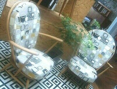 Vintage Ercol Blonde Armchairs Re Upholstered 2 Available - Excellent / Deliver
