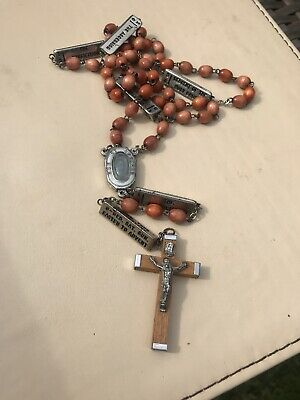 Large Vintage French Lourdes Carved Wooden Rosary Beads With Inscription.
