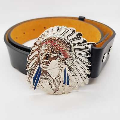 Cherokee Native Red Indian Chief Exeter Chiefs Rugby Belt & Buckle Chrome Biker