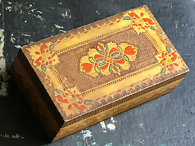Vintage French hand painted wooden carved decorative box labelled 'tabac' inside