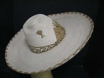 Vintage/Antique Mexican Sombrero Charro Hat Woven Straw Embroidered AUTHENTIC