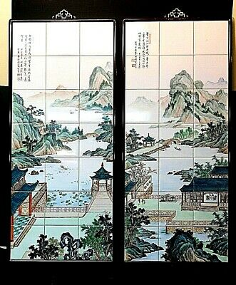 Pair of Large Estate Rare Chinese Famille Rose Hand-Painted Tile Paintings
