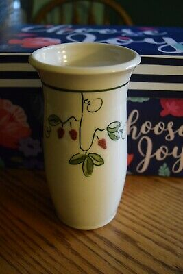 Hand Crafted Studio Pottery Whimsical Face Vase Strawberries Leaves Signed 7.5""