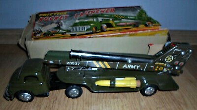 Transporter Vehicle 50er Jahre Blech Rocket Launcher Raketen Start LKW Friction