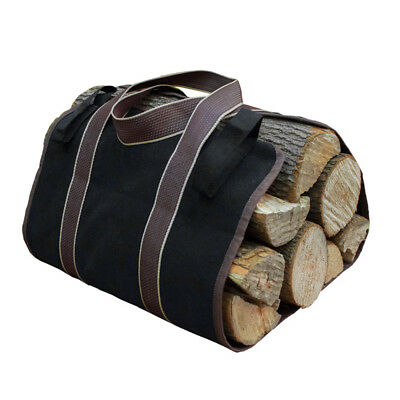 Portable Fireplace Firewood Fire Wood Log Carrier Holder Canvas Caddy Tote Bag A
